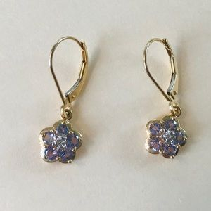 Tanzanite earrings, 14k gold, flower design